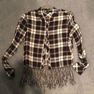 Aqua fringed flannel